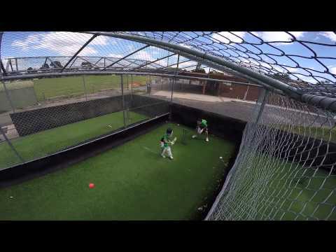Cricket - Lucas batting in the nets Jan 2015
