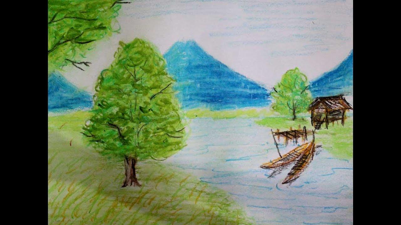 Cara Menggambar Pemandangan Alam Gunung Dan Sungai Versi Cepat