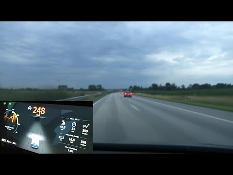 Driving Model X P90DL on German unrestricted autobahn 1st run