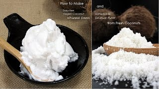 Dairy-Free Vegan Coconut Whipped Cream & Coconut Flour fr. Fresh Coconuts | Dietplan-101.com