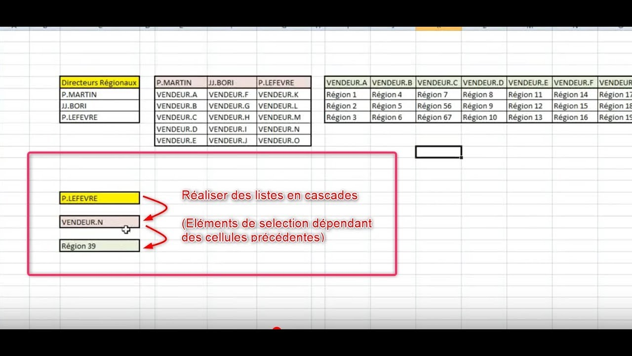 faire des listes d roulantes en cascade sur excel lien fichier youtube. Black Bedroom Furniture Sets. Home Design Ideas