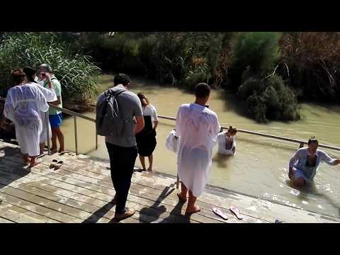 Here Jesus was baptized. The Jordan River near Jericho and the Dead Sea. Israel-Jordan border