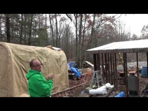 John & I Putting Sheet Metal On The Off Grid Battery Shed