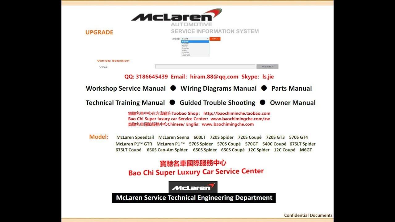Full Set Mclaren Workshop Manual  Service Manual  Repair