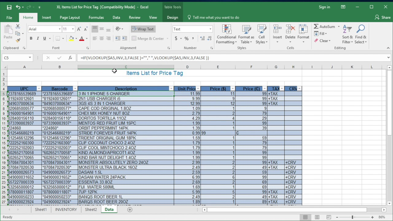 How To Create Price Tag List In Excel For Label Price Tag Youtube