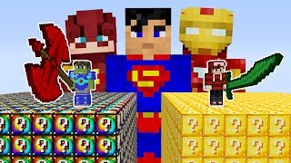 LUCKY BLOCK VS SUPER HEROIS - MINECRAFT