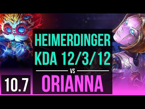 HEIMERDINGER vs ORIANNA (MID) | Rank 1 Heimerdinger, KDA 12/3/12, Legendary | TR Challenger | v10.7