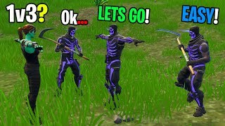 Ghoul Trooper takes on 1v3 against NEW Purple Skull Troopers in Playground INSANE BUILD BATTLES