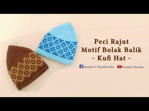 Crochet || Tutorial Peci Rajut Motif Bolak Balik - Interlocking  [Subtitles Available]
