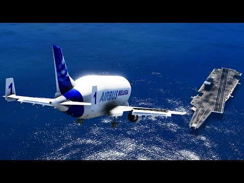 GTA 5 - LANDING GIGANTIC AIRBUS BELUGA ON THE AIRCRAFT CARRIER (GTA 5 Funny Moment)