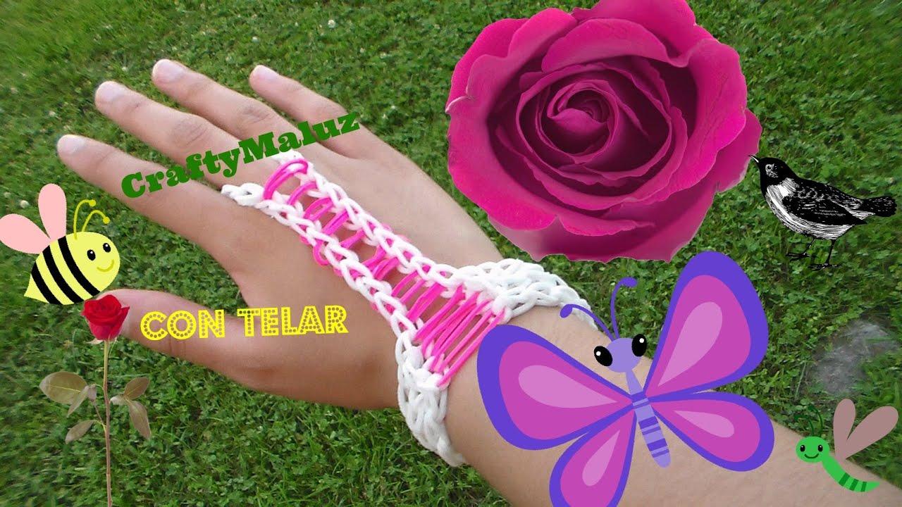 77f05f5c6ae3 Tutorial: Pulsera con anillo de gomitas accesorio para la mano// Rainbow  loom Hand Accessory by CraftyMaluz