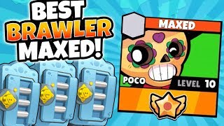 MEGA BRAWL BOX OPENING u0026 MAXING BEST BRAWLER POCO! | Brawl Stars | MAX LEVEL 10 POCO GAMEPLAY!
