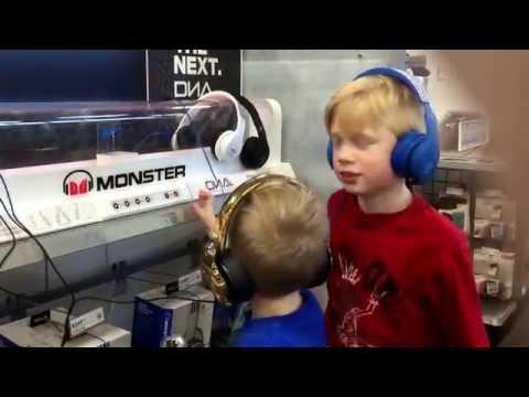 Testing headphones at Best Buy