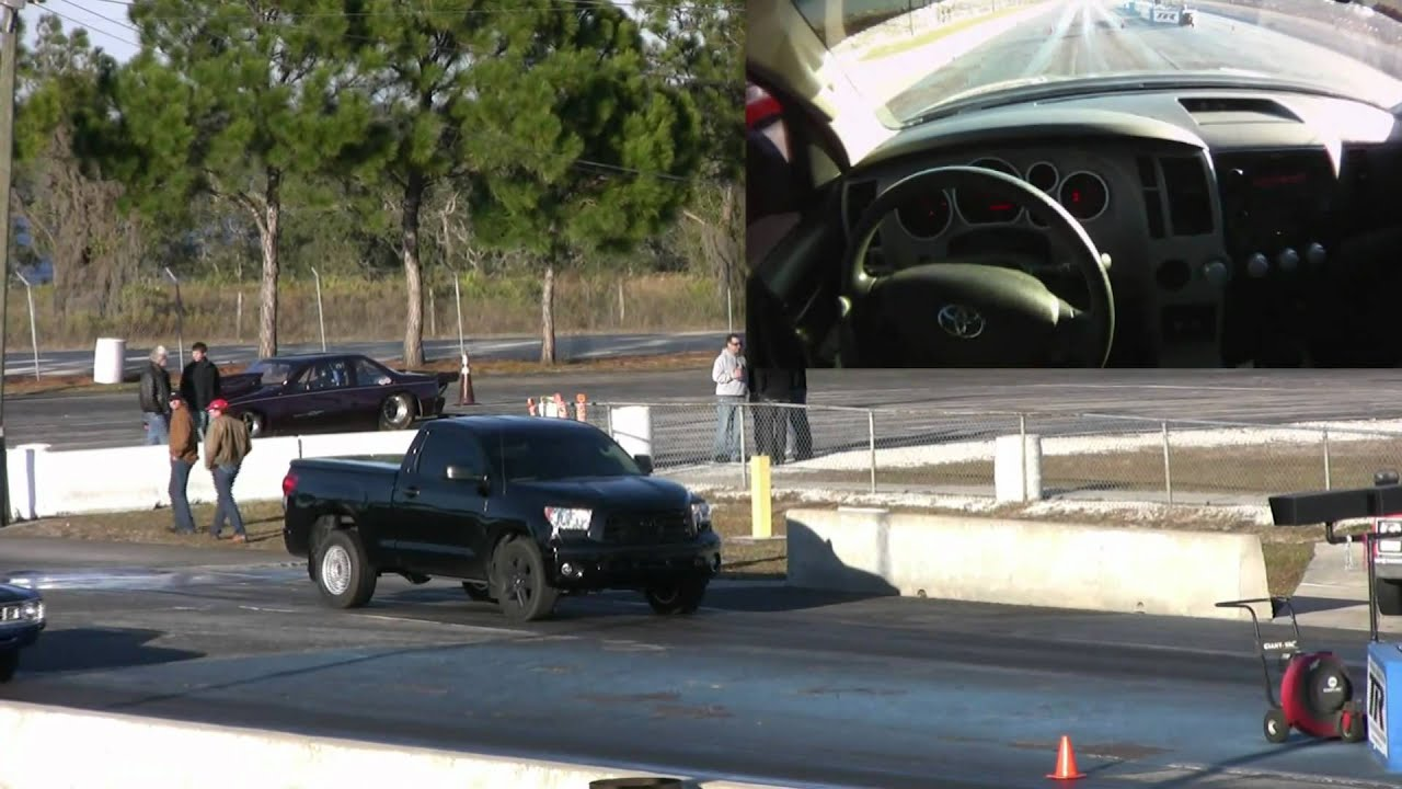 500hp Toyota Tundra Truck Smokes Muscle Car 1/4 Mile Drag Race - YouTube