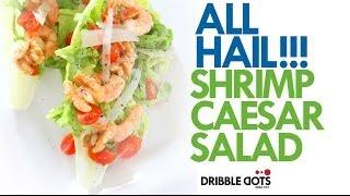 Hail Caesar Salad: Caesar Salad With Garlic Shrimp And Dribble Dots Mouthwatering Walnut