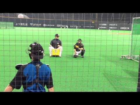 近藤健介選手、石川亮選手 2015年3月28日試合前練習