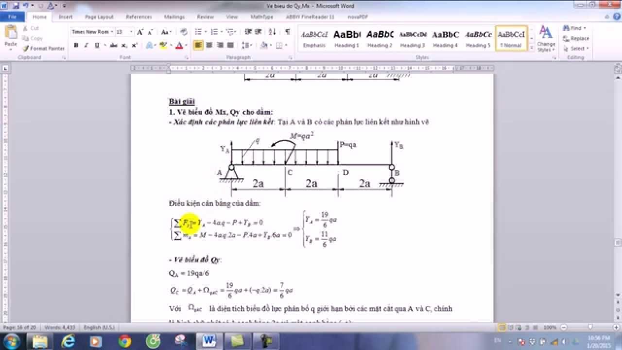 Vẽ biểu đồ Qy Mx bằng phương pháp vẽ nhanh
