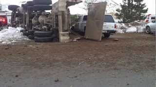 Dump Truck Loses Brakes and Flips Part 1