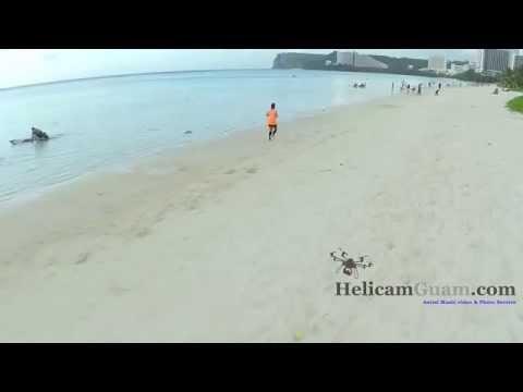 Guam Tumon Bay Beach Aerial video
