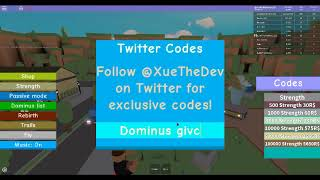 Roblox| 3 Codes to get more Strength in Dominus Lifting Simulator! READ PINNED COMMENT