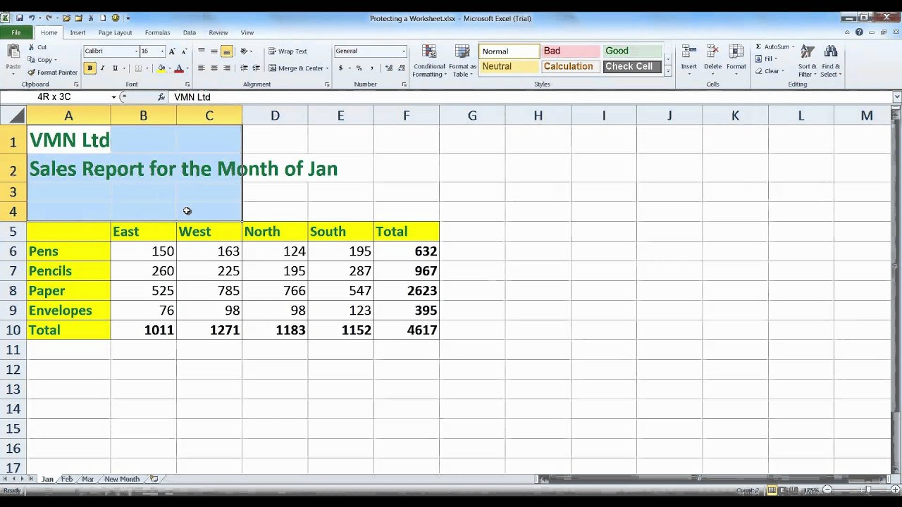 Excel 2010 Worksheet : Protecting a worksheet on excel youtube