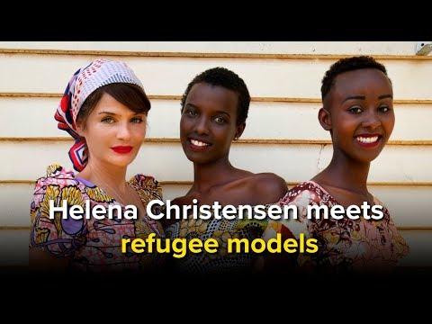 Helena Christensen meets refugee models