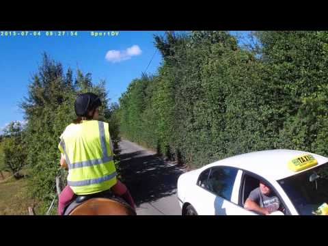 Driving too close to horse riders