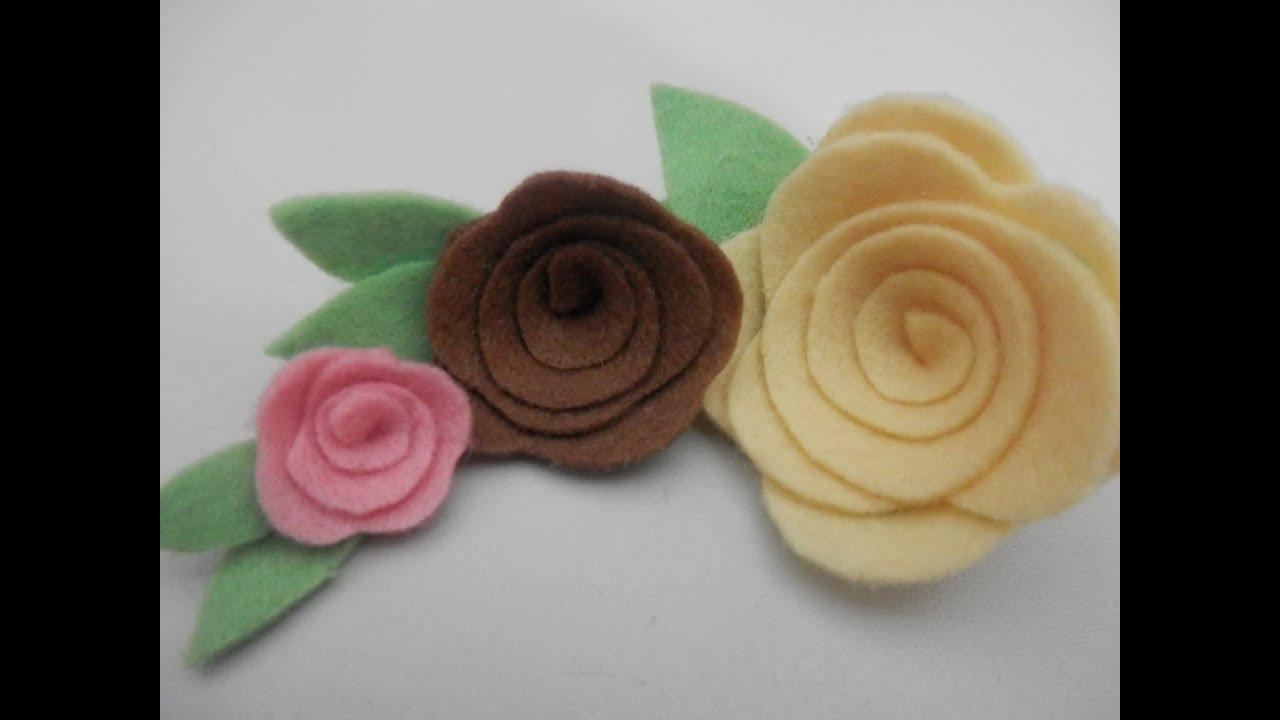 O Que Mais Vende Em Artesanato ~ Rosa de feltro 3 Artesanato passo a passo YouTube