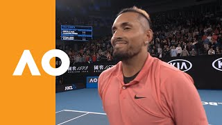 On-court interview with nick kyrgios in the second round of australian open 2020.