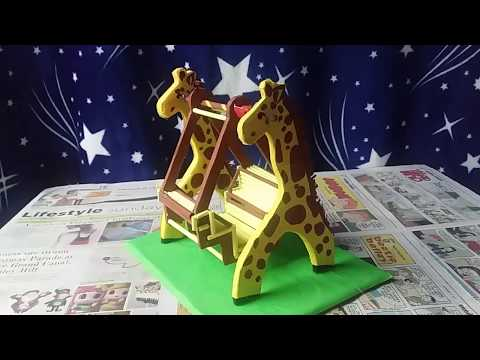 DIY VIRAL: How to Make Giraffe Mini Swing with Cardboard and Paper (Vlog No. 3)