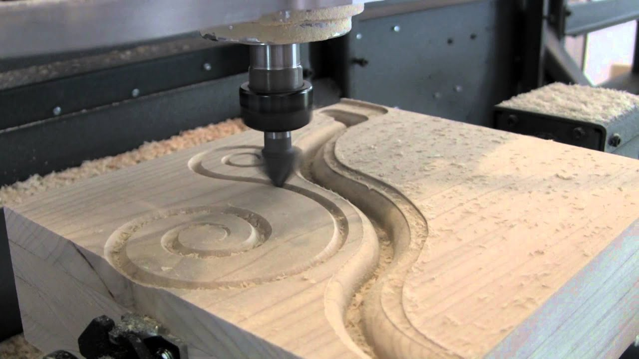 CNC Corbel Scroll V-carving - YouTube