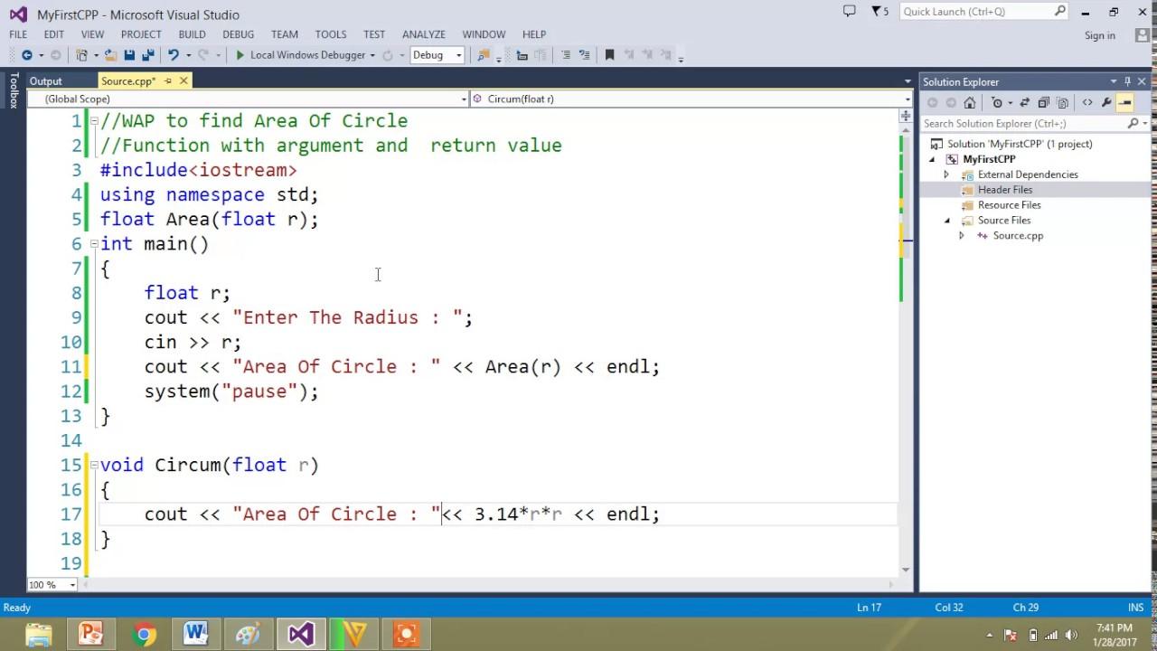 Area Of Circle Using C Program Part I Youtube