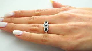 1 CTW Three Stone Black and White Round Diamond Engagement Ring in 10K White Gold (MDR140088)
