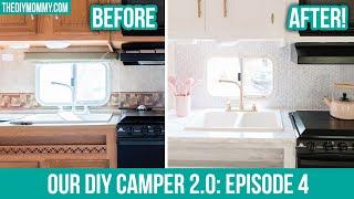 DIY CAMPER MAKEOVER | Installing peel & stick tile backsplash and countertop