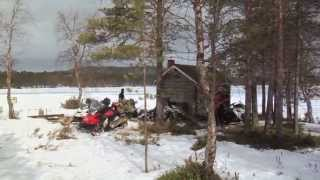 Touring in Finland on Lynx snowmobiles.