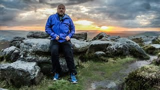 Hiking in the Peak District - Capturing the sunset on Stannage Edge.
