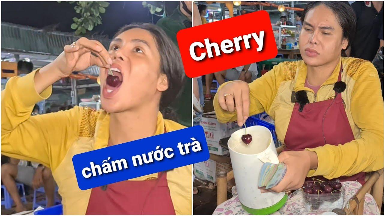Cười bể bụng DIVA Cát Thy review Cherry chấm nước trà   Bánh tráng trộn Cát Thy