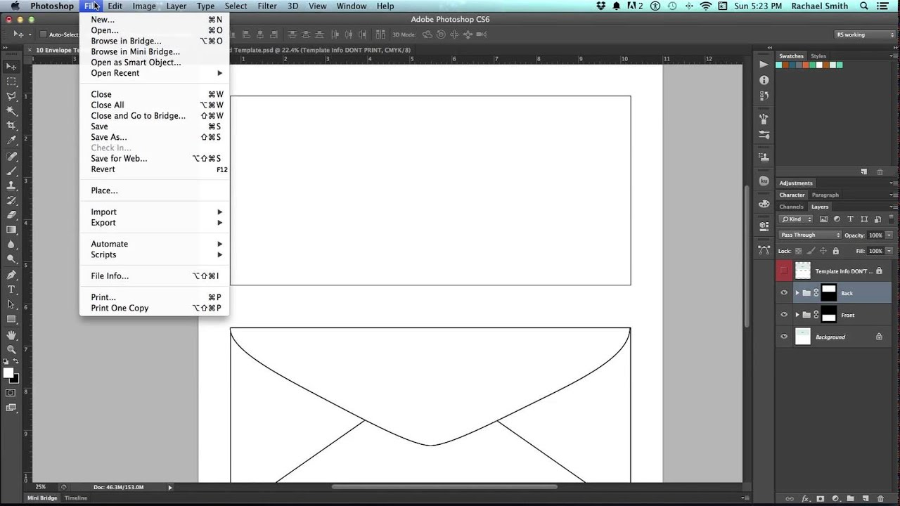 how to make an envelope template in photoshop