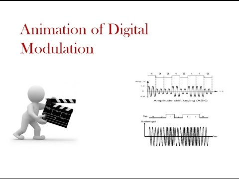 Animation of Digital modulation -- Amplitude, Frequency and Phase shift keying