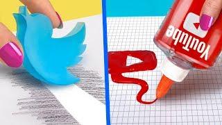 10 Divertenti Fai Da Te Per La Scuola / Materiale Scolastico A Tema Social Media