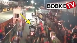 Massive Crash caused by Motorbike at Red Hook Criterium 2016!