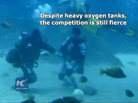 Underwater soccer match held in south China's Jiangxi