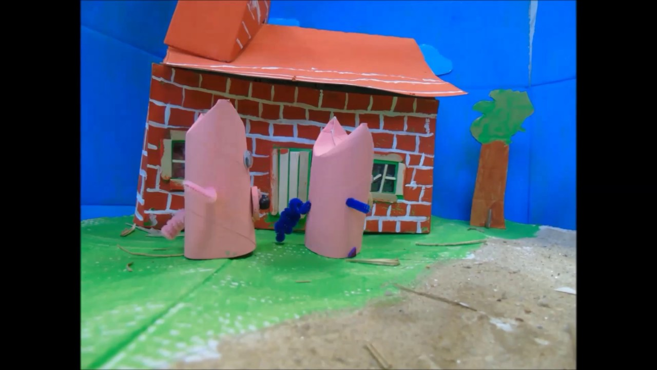 les trois petits cochons en carton youtube. Black Bedroom Furniture Sets. Home Design Ideas