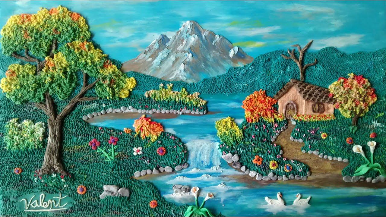 Como hacer un paisaje en plastilina parte 2 el agua y la for Paisajes para una pared