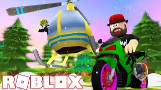 HELICOPTER in WINTER TIME! ROBLOX VEHICLE SIMULATOR   DRAG RACES   CAR STUNTS