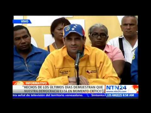 """Henrique Capriles habla en rueda de prensa y pide a Maduro """"desarmar los grupos paramilitares"""""""