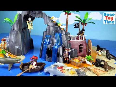 Thumbnail: Playmobil Pirate Treasure Island Playset Build and Play with Sea Animals Toys For Kids