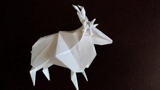 Винторогий козел оригами, horned goat origami (Jun Maekawa)