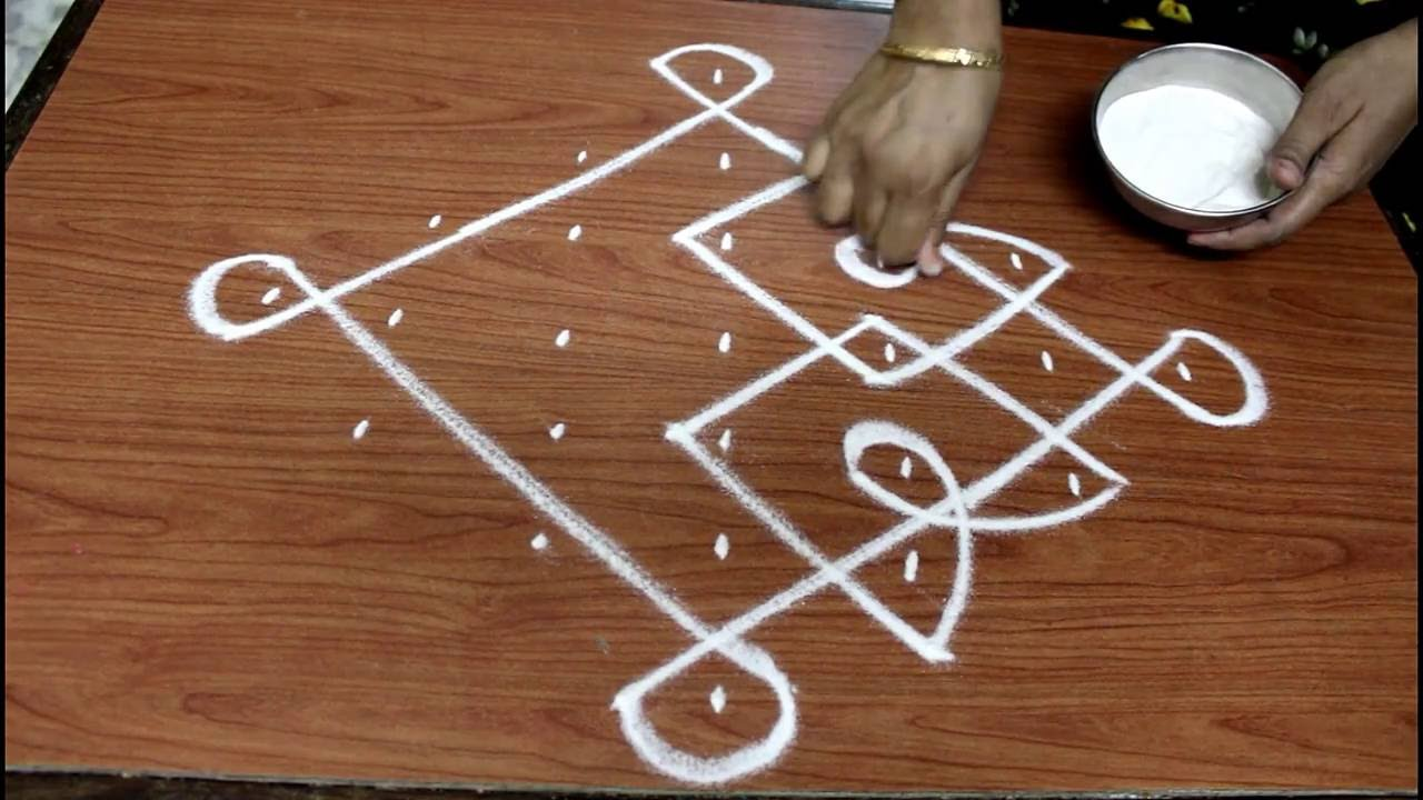 simple rangoli design with 7-1 dots||simple kolam with 7-1 dots ...