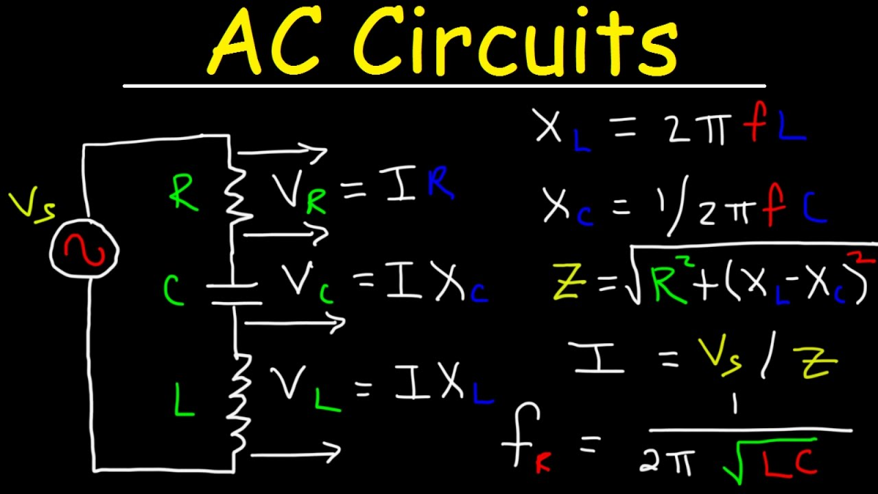 Ac Circuits Basics Impedance Resonant Frequency Rl Rc Rlc Lc Electricity And Lessons Exercises Practice Tests Circuit Explained Physics Problems